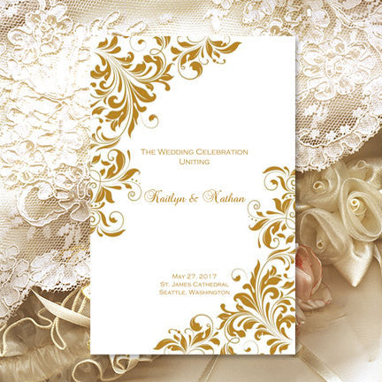Wedding Program Template Kaitlyn Gold