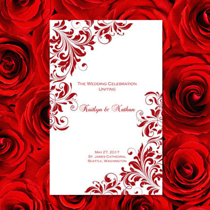 Wedding Program Template Kaitlyn Red