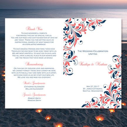 Wedding Program Template Kaitlyn Coral Navy Blue