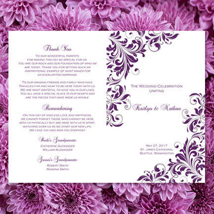 Wedding Program Template Kaitlyn Purple