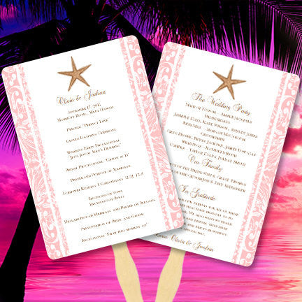 Wedding Program Fan Beach Starfish Tropical Blush Pink