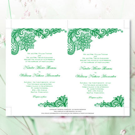 Vintage Lace Wedding Invitation Emerald Green