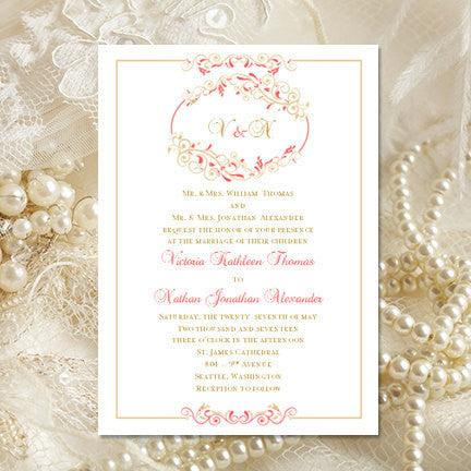 Madelyn Wedding Invitation Coral Champagne