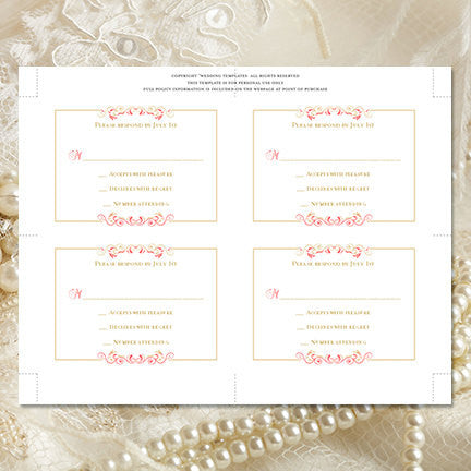 Wedding Response Cards Madelyn Coral Champagne