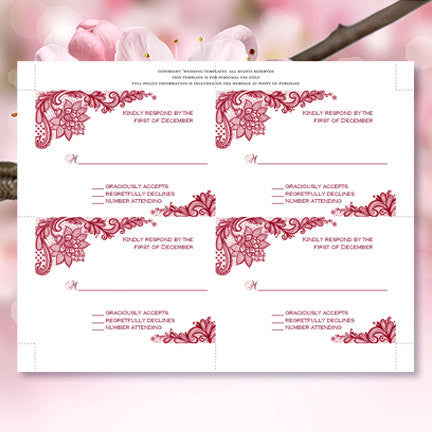 Wedding Response Cards Vintage Lace Burgundy Wine Cranberry