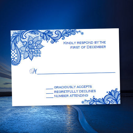 Wedding Response Cards Vintage Lace Cobalt Blue