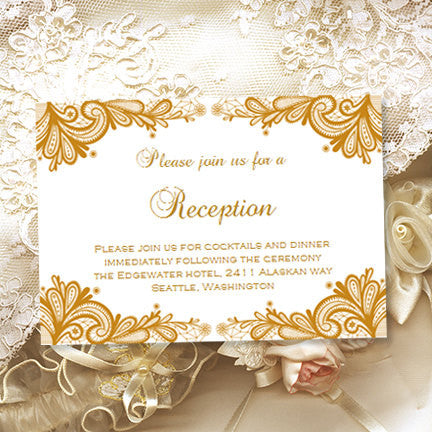 Wedding Reception Invitations Vintage Lace Gold