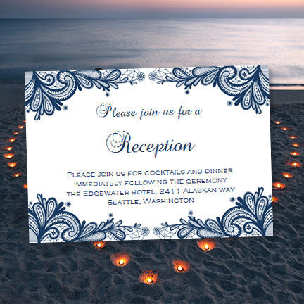 Wedding Reception Invitations Vintage Lace Navy Blue