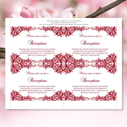 Wedding Reception Invitations Vintage Lace Burgundy Wine Cranberry