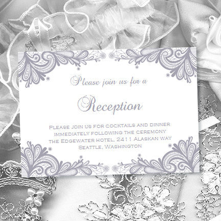 Wedding Reception Invitations Vintage Lace Silver Gray