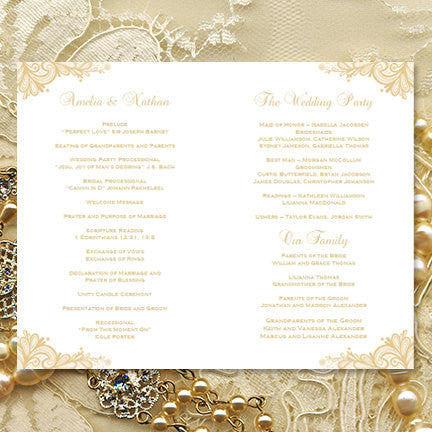 Wedding Program Template Vintage Lace Champagne