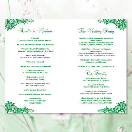 Wedding Program Template Vintage Lace Emerald Irish Green  Wedding
