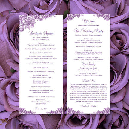 Slim Wedding Program Vintage Lace Purple
