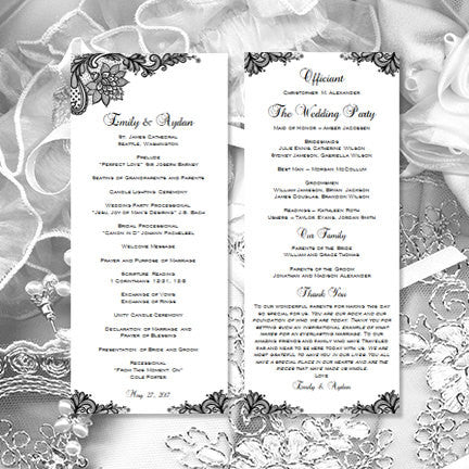 Slim Wedding Program Vintage Lace Black White