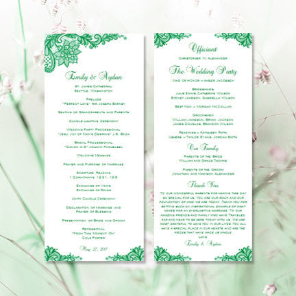 Slim Wedding Program Template Vintage Lace Emerald Green