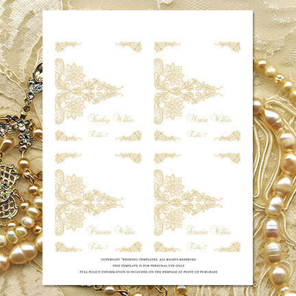 Wedding Seating Card Vintage Lace Champagne Tent