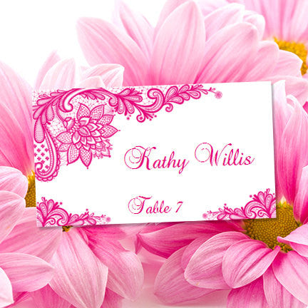 Wedding Seating Card Vintage Lace Hot Fuchsia Pink Tent