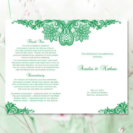 Wedding Program Template Vintage Lace Emerald Irish Green