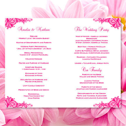 Wedding Program Template Vintage Lace Hot Fuchsia Pink