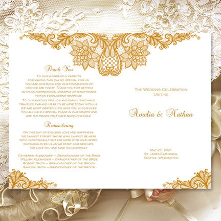 Wedding Program Template Vintage Lace Gold