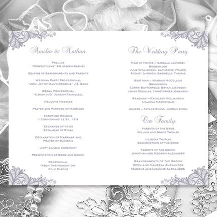 Wedding Program Template Vintage Lace Silver Gray