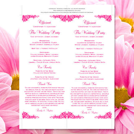 Slim Wedding Program Vintage Lace Fuchsia Hot Pink