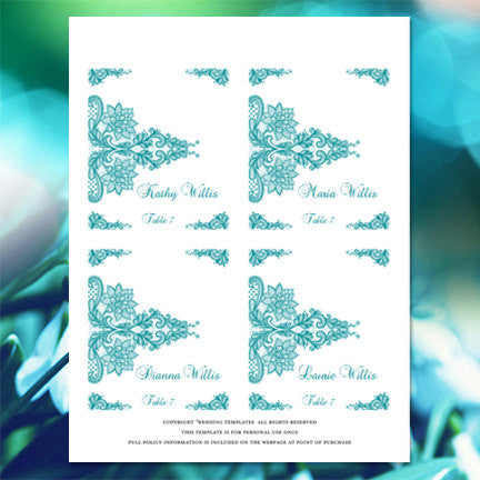 Wedding Seating Card Vintage Lace Teal Blue Green Tent