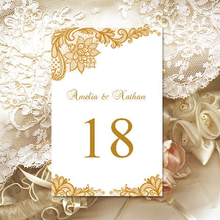 Wedding Table Number Template Vintage Lace Gold Flat