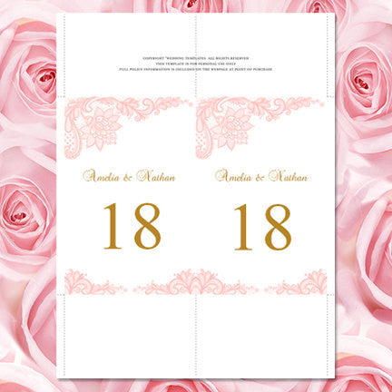 Wedding Table Number Template Vintage Lace Blush Pink Flat