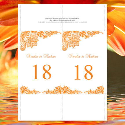 Wedding Table Number Template Vintage Lace Orange Flat