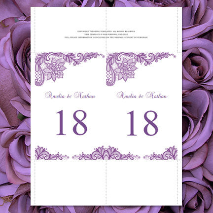 Wedding Table Number Template Vintage Lace Purple Flat