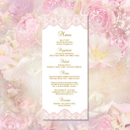Wedding Menu Card Vintage Lace Blush Pink Tea Length