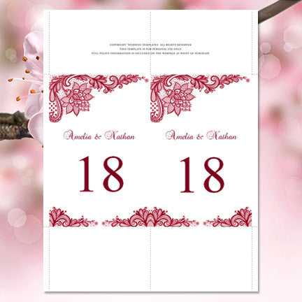 Wedding Table Number Template Vintage Lace Burgundy Flat