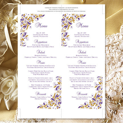 Wedding Menu Card Kaitlyn Purple Gold Tea Length