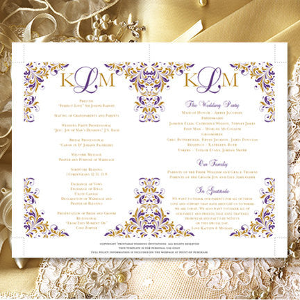 Wedding Program Fan Kaitlyn Purple Gold Monogram