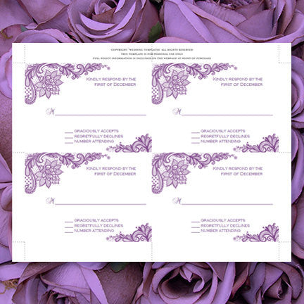 Wedding Response Cards Vintage Lace Purple