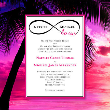 Infinity Love Wedding Invitation Hot Pink Black