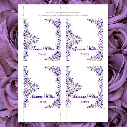 Wedding Seating Cards Kaitlyn Purple Gray Tent