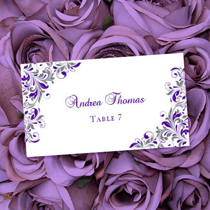 Printable Wedding Place Cards Kaitlyn Purple Gray Flat