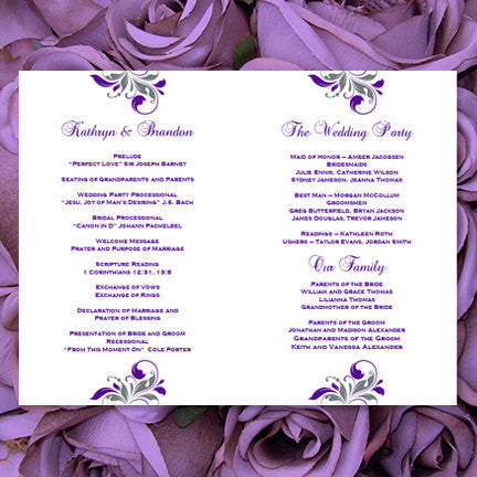 Wedding Program Template Kaitlyn Purple Gray