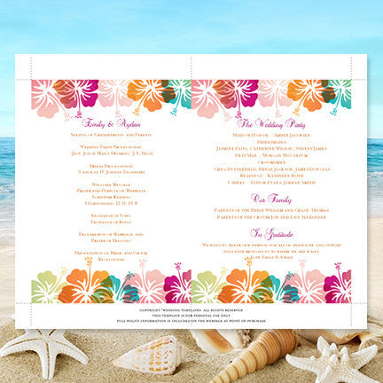 Wedding Program Fan Hibiscus Pink Blue Orange