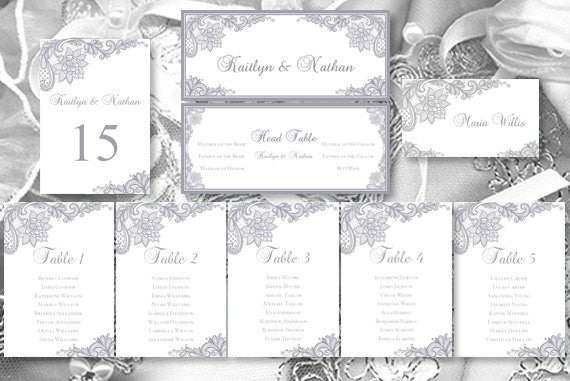Wedding Seating Chart Set Vintage Lace Gray