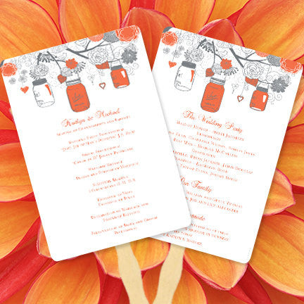 Wedding Program Fan Rustic Mason Jars Coral Gray