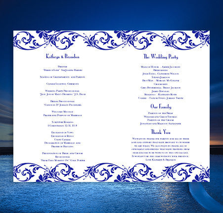 Wedding Program Template Tropical Damask Royal Blue