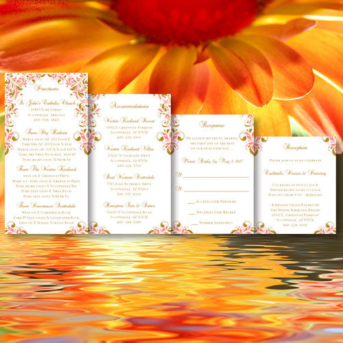 Pocket Fold Wedding Invitations Kaitlyn Coral Gold 5x7