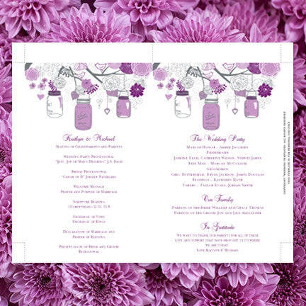 Wedding Program Fan Rustic Mason Jars Plum Purple Lavender