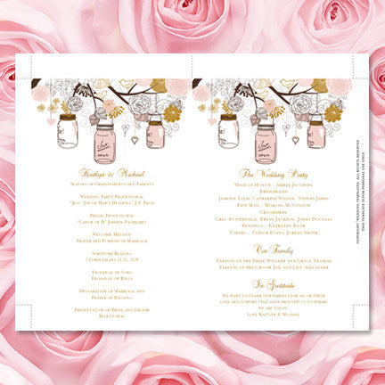 Wedding Program Fan Rustic Mason Jar Blush Pink Gold