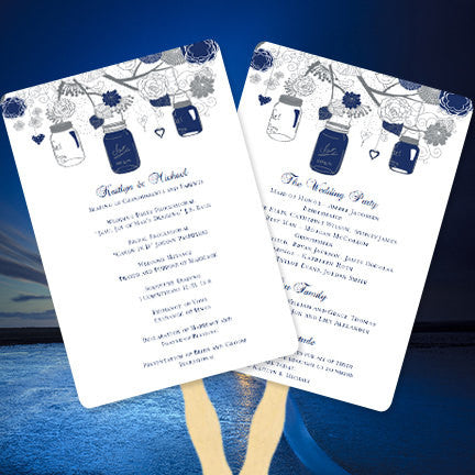Wedding Program Fan Rustic Mason Jars Navy Blue Gray