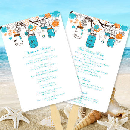 Wedding Programs Fan Rustic Mason Jars Turquoise Ocean Blue Orange