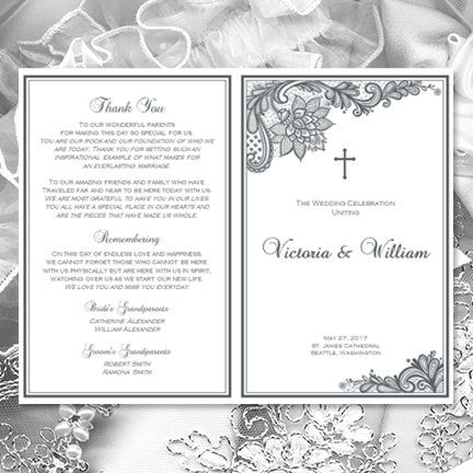 Catholic Church Wedding Program Vintage Lace Gray